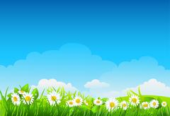 Summer background with flowers Stock Illustration