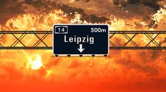 Leipzig Germany Highway Sign in the Sunset Stock Illustration