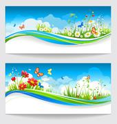 Two summer banners with flowers and butterflies Stock Illustration