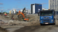 Huge truck transports soil from the construction site. Stock Footage