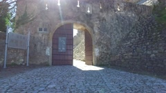 Entering in the Christ convent - Tomar, Portugal Stock Footage