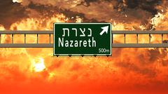 Nazareth Israel Highway Sign in the Sunset Piirros