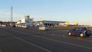 Winston Churchill Avenue, Gibraltar, crossing the runway Stock Footage