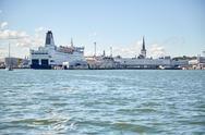 Sea port harbor and old town in tallinn city Stock Photos