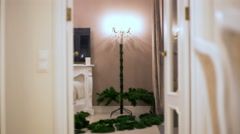 Stop motion. Without people gradually assembled an artificial Christmas tree Stock Footage