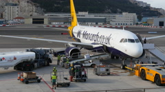 Aircraft being prepared for takeoff at Gibraltar Stock Footage