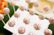 Close up of cake pops or lollipops Stock Photos