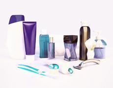 Set for morning hygiene. Toothpaste, brush, soap, balm, tooth thread. Stock Illustration
