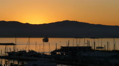 Night falls over Gibraltar bay.  Time lapse Stock Footage