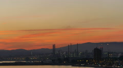 Gibraltar-San Roque Refinery, nightfall time lapse Stock Footage