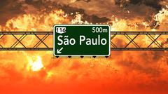 Sao Paulo Brazil Highway Sign in the Sunset Stock Illustration