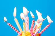 Birthday cupcake with many burning candles Stock Photos
