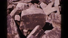 1953: stone aged ancient civilization turtle animal carving on boulder rock Stock Footage