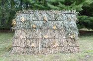 Hay hut with corn at pumkpin festival Stock Photos
