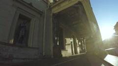 Atlant Winter Palace at sunrise in St. Petersburg Stock Footage
