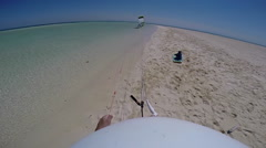 POV of a man being dragged by his kite before kite surfing in the Red Sea, Egypt Stock Footage
