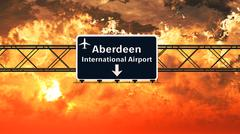 Aberdeen Airport Highway Sign in the Sunset Stock Illustration