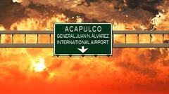 Acapulco Airport Highway Sign in the Sunset Stock Illustration