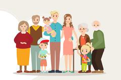 Big happy family portrait parents with disabled child Stock Illustration