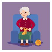 Grandma sits in an armchair and knits Stock Illustration