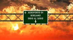 Bergamo Italy Airport Highway Sign in the Sunset Stock Illustration
