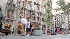 People at casa Batllo - Barcelona Stock Footage