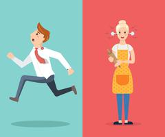 Family conflict couple man and woman swear Stock Illustration