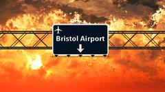 Bristol England Airport Highway Sign in the Sunset Stock Illustration