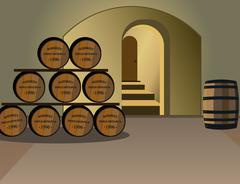 Wine cellar with barrels of alcohol Stock Illustration