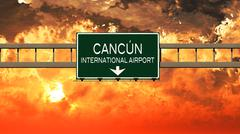 Cancun Mexico Airport Highway Sign in the Sunset Stock Illustration