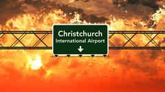 Christchurch New Zealand Airport Highway Sign in the Sunset Stock Illustration
