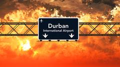 Durban South Africa Airport Highway Sign in the Sunset Stock Illustration