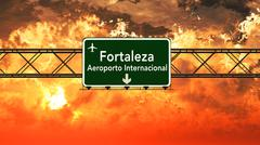 Fortaleza Brazil Airport Highway Sign in the Sunset Stock Illustration