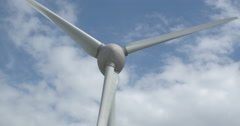 Huge windturbines windturbine aerial shot with drone. beautifull clouds Holland Stock Footage