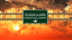 Guadalajara Mexico Airport Highway Sign in the Sunset Stock Illustration
