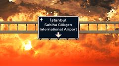 Istanbul Gokcen Turkey Airport Highway Sign in the Sunset Stock Illustration