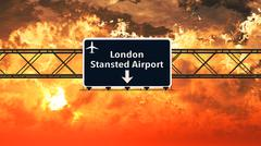London Stansted England Airport Highway Sign in the Sunset Stock Illustration