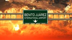 Mexico City Benito Juarez Airport Highway Sign in the Sunset Piirros