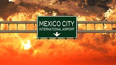 Mexico City International Airport Highway Sign in the Sunset Piirros