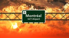 Montreal Canada Airport Highway Sign in the Sunset Stock Illustration