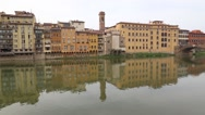 Firence Italy river bridges and Houses Stock Footage