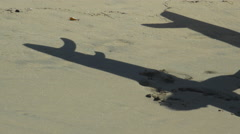 Shadows of longboard surfboards and their fins appear in the sand. Stock Footage