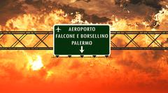 Palermo Italy Airport Highway Sign in the Sunset Stock Illustration