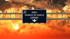 Paris De Gaulle France Airport Highway Sign in the Sunset Stock Illustration