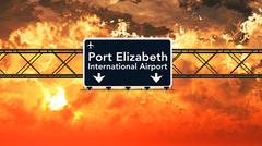 Port Elizabeth South Africa Airport Highway Sign in the Sunset Stock Illustration