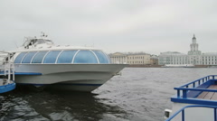 Amazing view of a the river Neva quay in St Petersburg. A river bus at the Stock Footage