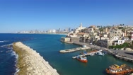 Tel Aviv - Jaffa, Aerial footage moving in from the mediterranean sea Stock Footage