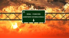Rome Fiumicino Italy Airport Highway Sign in the Sunset Stock Illustration