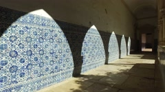 Templar christ convent tiles - Tomar, Portugal Stock Footage