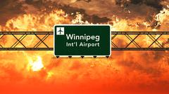 Winnipeg Canada Airport Highway Sign in the Sunset Stock Illustration